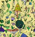 seamless pattern of fantasy mushrooms vector image vector image