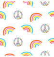 seamless pattern with rainbow and peace symbol vector image vector image
