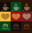 set of coffee bean in coffee cup heart and bale vector image vector image