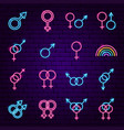 sex gender neon icons vector image
