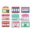 shop flat buildings modern store facade cartoon vector image