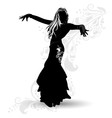 Silhouette belly dancer 1 vector image vector image