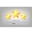Super Stars Three Golden Stars Silver Background vector image