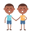 Twins happy kids holding hands boy and girl vector image vector image