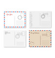valentines postcard romantic cards with postage vector image