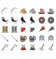vikings and attributes cartoonmonochrom icons in vector image vector image
