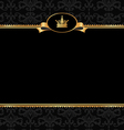 Vintage black background with golden frame vector image vector image