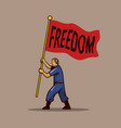 waving freedom flag men vector image