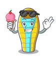 with ice cream sleeping bad character cartoon vector image