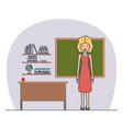 woman teacher in dress on classroom with wooden vector image