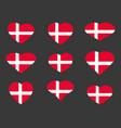 hearts with the denmark flag i love the denmark vector image