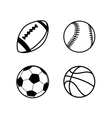 Four simple black icons of balls for rugby soccer vector image