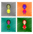 assembly flat shading style icon zombie woman vector image vector image