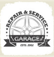 auto wheel garage vector image vector image