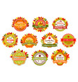autumn label and badge set of fall nature leaf vector image vector image