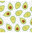 avocado seamless pattern sliced on white vector image vector image