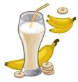 Banana milkshake in glass with straw vector image
