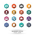 basic business icon set flat long shadow style vector image
