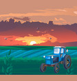 blue tractor in field at sunset vector image vector image