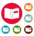 book inverted icons circle set vector image vector image