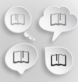 Book White flat buttons on gray background vector image