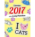 Calendar 2017 with cats In cartoon 80s-90s comic vector image vector image