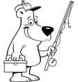 cartoon bear holding a fishing rod vector image vector image