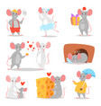 cartoon mouse mousy animal character rodent vector image
