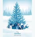 christmas holiday background with a blue tree and vector image vector image