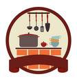 circular emblem with ribbon and kitchen set vector image vector image