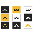curly mustache square button icons set vector image vector image