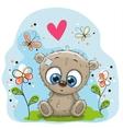 Cute Teddy Bear with flowers vector image vector image