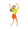 dancing lady woman shaking body on music isolated vector image vector image
