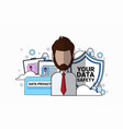 data safety shield support agent man portrait over vector image vector image