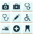 drug icons set with medical sign body check vector image vector image