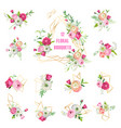floral bouquets set for holidays decoration vector image