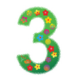 floral number 3 vector image vector image