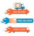 free and fast delivery labels set vector image