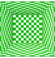 Green and white chessboard walls room background vector image vector image