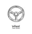 hand drawn steering wheel on white vector image
