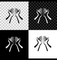 hands icon isolated on black white and vector image