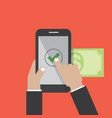 hands using internet banking on smart phone vector image