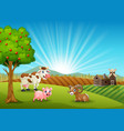 happy farm animals in the morning vector image