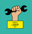 happy labor day poster or banner with clenched vector image