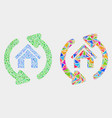 home refresh arrows mosaic icon triangle vector image vector image