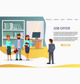job offer landing page website template vector image vector image