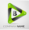 Letter b logo symbol in the colorful triangle on