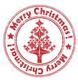 merry christmas red tree stamp vector image vector image