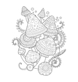 Mushroom drawing coloring book for adults vector image