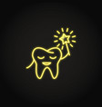 neon smiling tooth icon in line style vector image